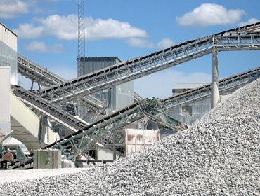Conveyor belts in a cement plant